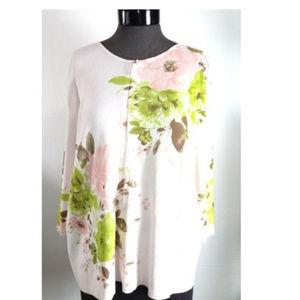 Liz Claiborne Woman Pink Floral Zip Up Top Size 3X